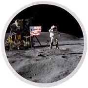 Apollo 16 Lunar Landing Astronaut Young Round Beach Towel
