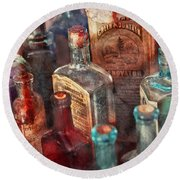 Apothecary - A Series Of Bottles Round Beach Towel