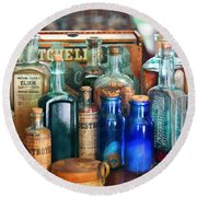 Apothecary - Remedies For The Fits Round Beach Towel by Mike Savad