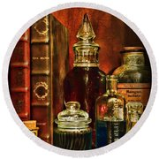 Apothecary - Vintage Jars And Potions Round Beach Towel