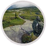 Appalachian Trail Mountain Path Saddleback Maine Round Beach Towel