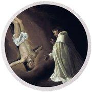 Apparition Of Apostle Saint Peter To Saint Peter Nolasco Round Beach Towel