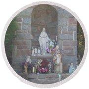 Apparition Of Virgin Mary Round Beach Towel