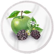 Apple And Blackberries Round Beach Towel