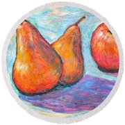 Apple And Pear Twirl Round Beach Towel