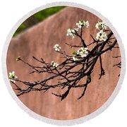 Apple Blossom Branch Round Beach Towel
