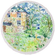 Apple Blossom Farm Round Beach Towel