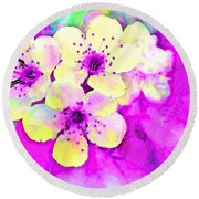 Apple Blossoms In Magenta -  Digital Paint Round Beach Towel