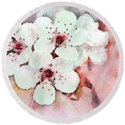 Apple Blossoms Pink - Digital Paint Round Beach Towel