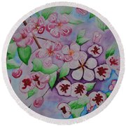 Apple Blossoms Round Beach Towel