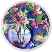 Apple Blossoms Round Beach Towel by Sherry Harradence
