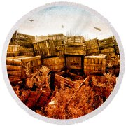 Apple Crates And Crows Round Beach Towel by Bob Orsillo