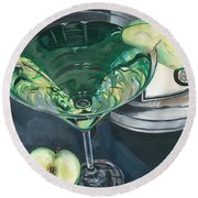 Apple Martini Round Beach Towel by Debbie DeWitt
