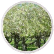 Apple Orchard Round Beach Towel