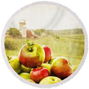 Apple Picking Time Round Beach Towel by Edward Fielding