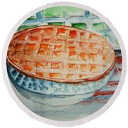 Apple Pie With Lattice Crust Round Beach Towel