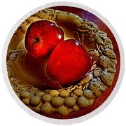 Apple Still Life 2 Round Beach Towel