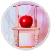 Apple Still Life With Doll Chair Round Beach Towel by Edward Fielding