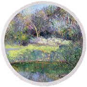 Apple Tree And Crescent Moon Round Beach Towel