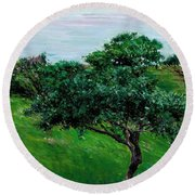 Apple Trees By The Sea Trouville Round Beach Towel