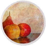 Apples And A Pear Round Beach Towel