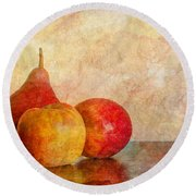 Apples And A Pear II Round Beach Towel