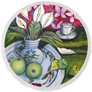 Apples And Lilies Round Beach Towel