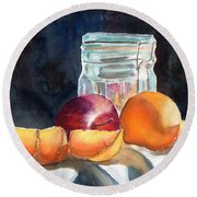 Apples And Oranges Round Beach Towel by Mohamed Hirji