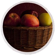 Apples In Basket Round Beach Towel