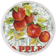 Apples On Damask Round Beach Towel
