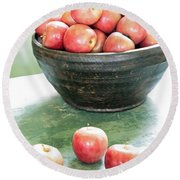 Apples On The Table  Round Beach Towel