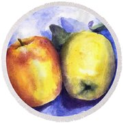 Apples Paired Round Beach Towel