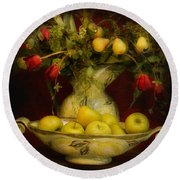 Apples Pears And Tulips Round Beach Towel