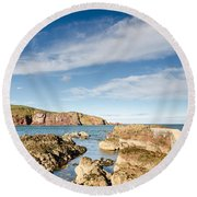 Approach To St Abbs Harbour Round Beach Towel