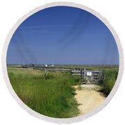 Approach To The Wooden Bridge - Newtown Round Beach Towel