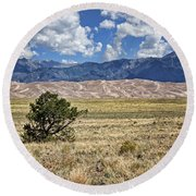 Approaching Great Sand Dunes #2 Round Beach Towel