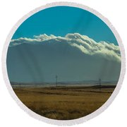 Grassland Approaching Humphreys Peak Round Beach Towel