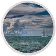 Approaching Storm At Whale Harbor Round Beach Towel