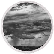 Approaching Storm Black And White Round Beach Towel by Douglas Barnard