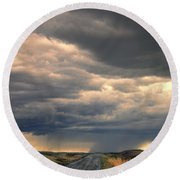 Approaching Storm On Country Road Round Beach Towel