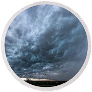 Approaching Storm Over Belton-sunset Round Beach Towel