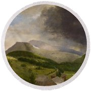 Approaching Storm  White Mountains Round Beach Towel by Alvan Fisher