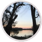 Approaching Sunset Silhouettes Round Beach Towel