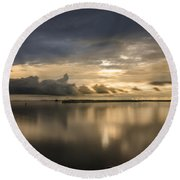 Approaching The Golden Hour Round Beach Towel