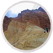 Approaching The Jagged Peaks In Golden Canyon In Death Valley National Park-california  Round Beach Towel
