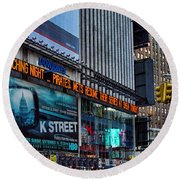 approaching Times Square Round Beach Towel