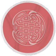 Apricot Circle Abstract Round Beach Towel
