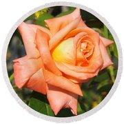 Apricot Nectar Rose Round Beach Towel