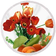 Apricots And Red Roses Round Beach Towel