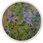 April Lilacs Round Beach Towel